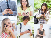 Collage of people on the phone — Stock Photo