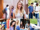 Collage de estudiantes de la Universidad — Foto de Stock