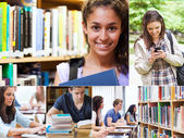 Collage de sonrientes estudiantes — Foto de Stock