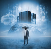 Podnikatel uvažuje servery — Stock fotografie