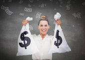 Businesswoman holding cash bags — Stock Photo