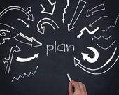 Hand writing the word plan — Stock Photo
