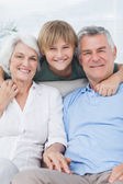 Grandson with his grandparents — Stock Photo