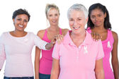 Supportive group of women wearing pink tops and breast cancer ri — Stock Photo