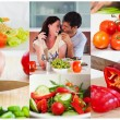 Collage of couple eating healthy salad — Stock fotografie