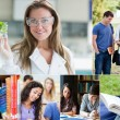 Collage of pictures with various students — Stock Photo