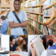Montage with pictures of cheerful students — Stock Photo