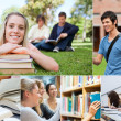 Collage of students — Foto Stock