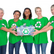 Team of happy female environmental activists holding box of recy — Stock Photo