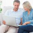 Couple using laptop together on the couch — Stock Photo #28052521