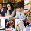 collage van studenten in de bibliotheek — Stockfoto