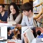 colagem de alunos na biblioteca — Foto Stock