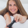 Portrait of a girl playing video games — Stock Photo #28053089