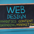 Web design terms written with chalk — Foto Stock #28053163
