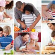 Collage of parents with their children — Stock Photo