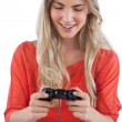 Stock Photo: Womholding video games joystick