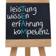 Team spelled in german written on blackboard — Stock Photo