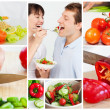 Stock Photo: Collage of couple eating vegetables