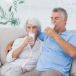 Couple drinking glasses of milk sitting on the couch — Stock Photo #28055531