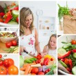 Collage of woman cutting vegetables with her daughter — Stock Photo