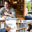 Stock Photo: Collage of students reading books