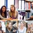 Montage of various pictures showing students in a library — Stock Photo