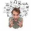 Stressed man gesturing and yelling — Stock Photo