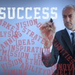 Businessman writing various words about success with a marker — Stock Photo #28056725