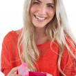 Stock Photo: Smiling woman with gift box