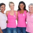 Smiling women wearing pink tops and breast cancer ribbons — Stock Photo #28057247