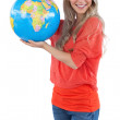 Woman holding a globe — Stock Photo #28057343