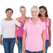 Stock Photo: Supportive women wearing pink tops and breast cancer ribbons