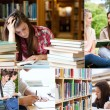 Collage of students studying — Stock Photo