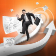 Cheerful businessman jumping over arrows — Stock Photo #28057939