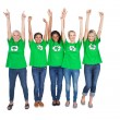Team of happy female environmental activists cheering — Photo