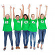 Team of happy female environmental activists cheering — Lizenzfreies Foto