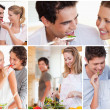 Collage of lovely couples — Stock Photo