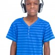 Little boy listening to music — Stock Photo