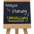 Implementation written on blackboard in german — Stock Photo