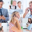 Collage of people using their phone — Stock Photo #28058547
