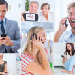Collage of people using their phone — Stock Photo