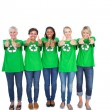 Stock Photo: Team of happy female environmental activists giving thumbs up