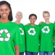 Stock Photo: Team of female environmental activists smiling at camera