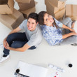 Stock Photo: Overview of couple sitting back to back