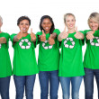 Team of female environmental activists giving thumbs up — Stock Photo #28059441
