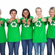 Stock Photo: Team of female environmental activists giving thumbs up