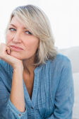 Upset woman thinking — Stock Photo