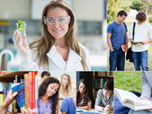 Collage of pictures with various students — Stok fotoğraf