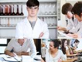 Collage av studenter under sina föreläsningar — Stockfoto