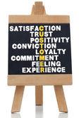 Podmínky o spokojenosti napsané na tabuli — Stock fotografie